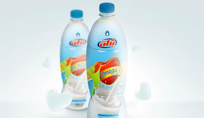 طراحی بسته بندی بطری شیر پگاه خراسان