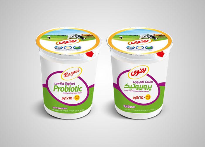 طراحی بسته بندی ماست کم چرب پروبیوتیک 650 رضوی
