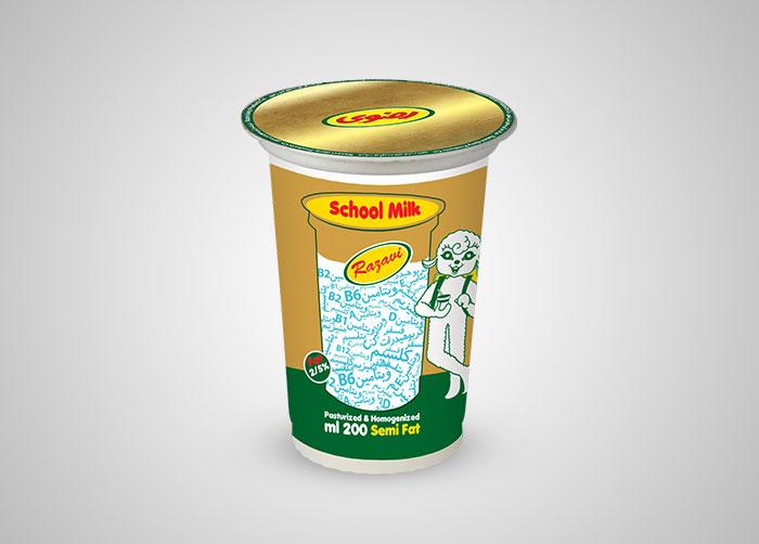 طراحی بسته بندی شیر مدرسه فراورده های لبنی رضوی