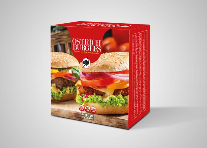 طراحی بسته بندی جعبه همبرگر با گوشت شترمرغ مدبر کشت توس