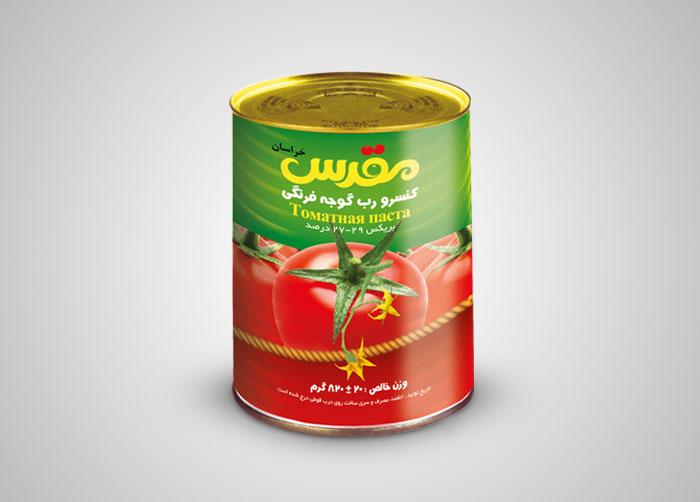 طراحی بسته بندی کنسرو رب گوجه فرنگی مقدس