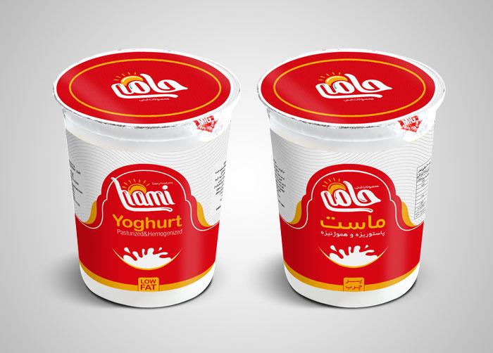 طراحی بسته بندی لیبل ماست سطلی پرچرب حامی