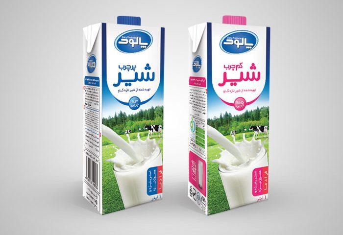 طراحی بسته بندی استریل شیر پر چرب و کم چرب 1 لیتری پالود