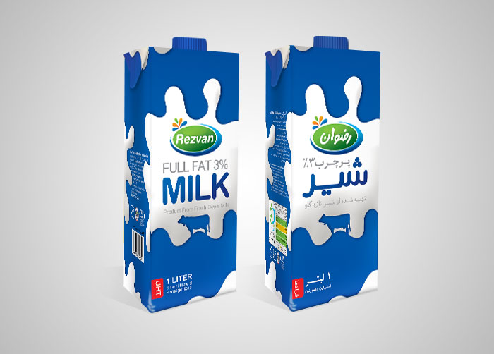 طراحی بسته بندی شیر استریل 1000 سی سی پرچرب رضوان