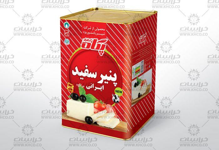 طراحی بسته بندی حلب 14کیلویی پنیرسفید براکوه
