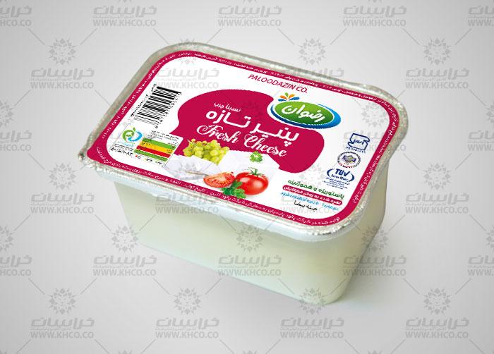 طراحی بسته بندی فویل پنیر سفید رضوان