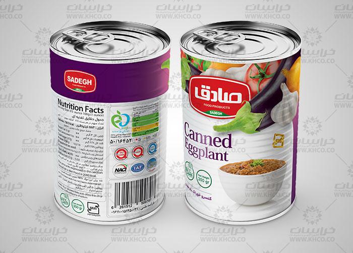 طراحی بسته بندی لیبل قوطی فلزی کنسرو خوراک بادجان صادق