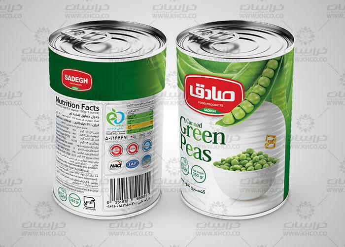 طراحی بسته بندی لیبل قوطی فلزی کنسرو نخود سبز صادق