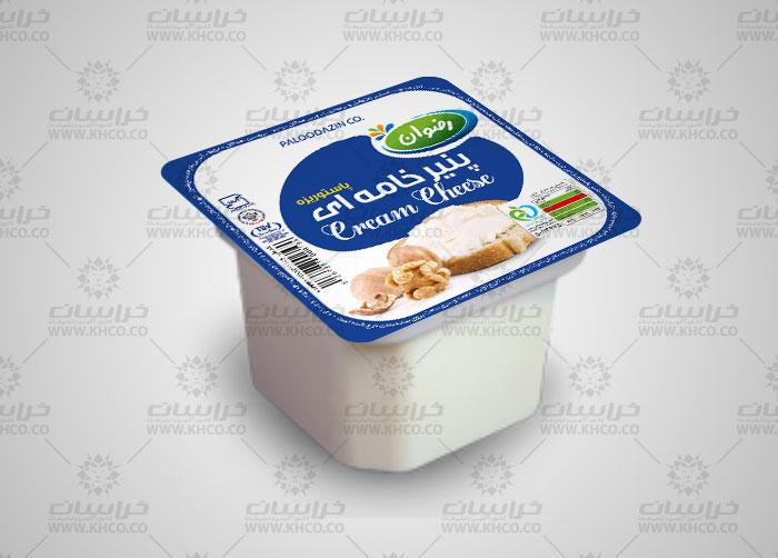 طراحی بسته بندی فویل پنیر خامه ای 100 گرمی رضوان