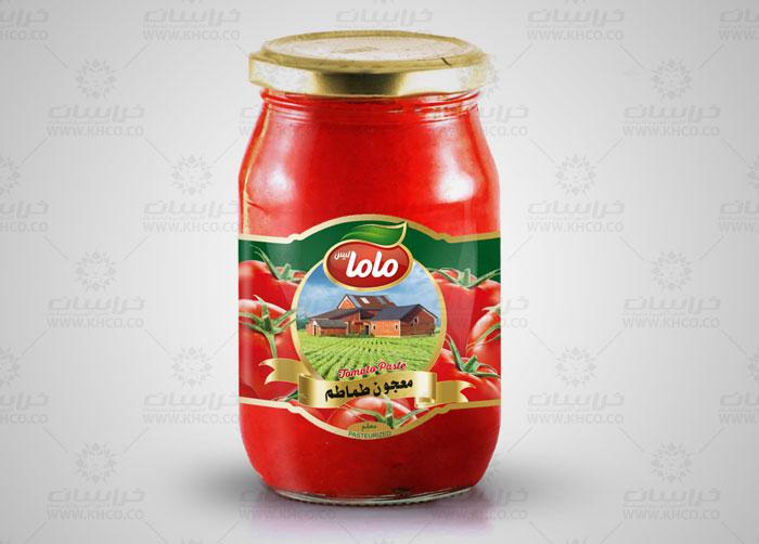 طراحی بسته بندی لیبل بسته بندی رب گوجه فرنگی مامالیس
