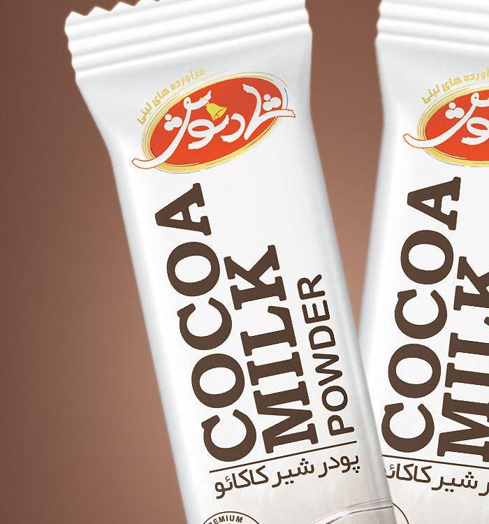 طراحی بسته بندی ساشه پودر شیر کاکائو شادنوش