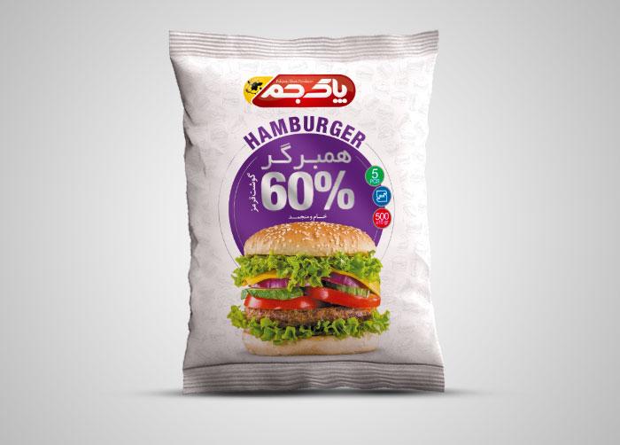 طراحی بسته بندی لفاف همبرگر 60% پاک جم