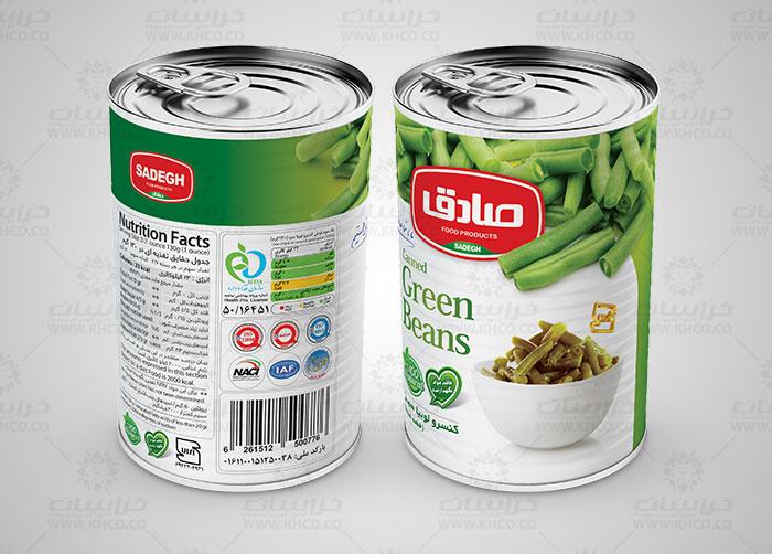 طراحی بسته بندی لیبل قوطی کنسرو لوبیا سبز صادق
