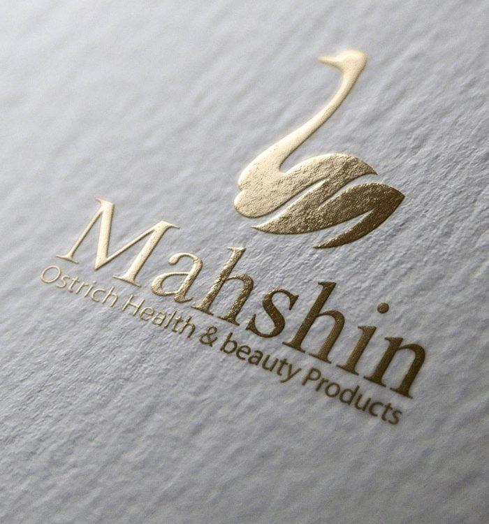 طراحی لوگوی فراورده های شترمرغ ماه شین