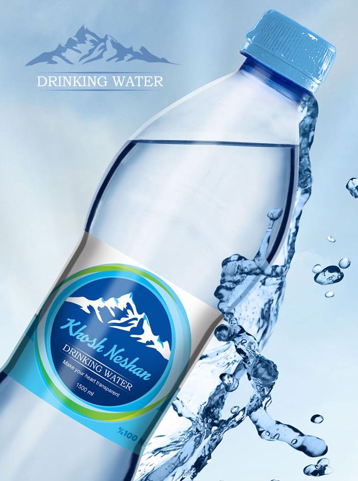 طراحی لیبل بسته بندی آب آشامیدنی خوش نشان
