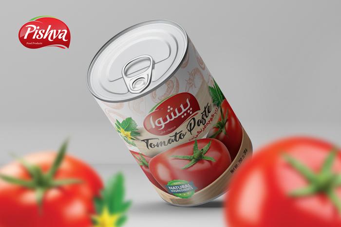 طراحی بسته بندی رب گوجه فرنگی پیشوا