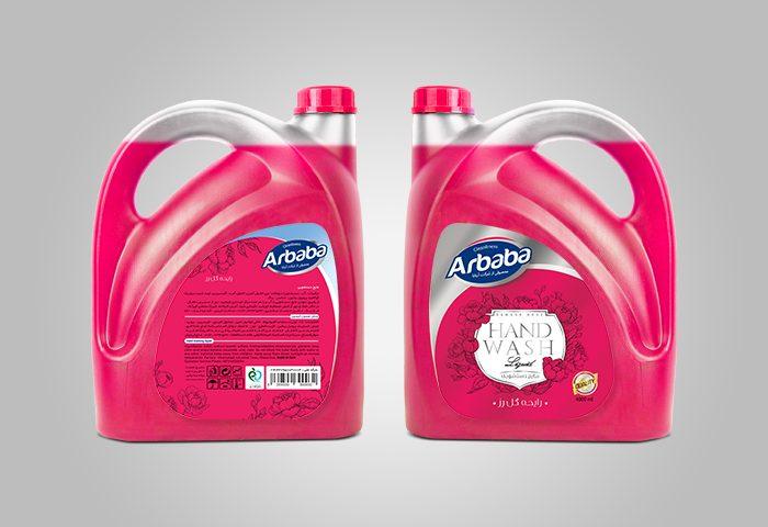 طراحی لیبل مایع دستشویی 4لیتری آربابا - رایحه گل رز