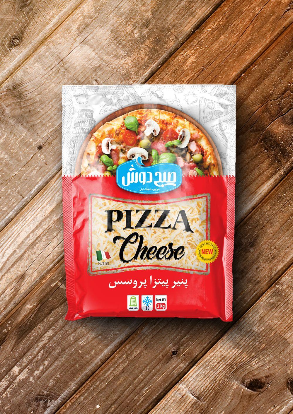 طراحی لفاف بسته بندی پنیر پیتزا صبح دوش