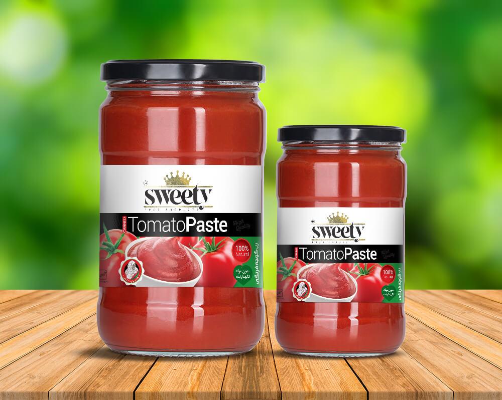 طراحی بسته بندی لیبل رب گوجه فرنگی شیشه ای سوییتی