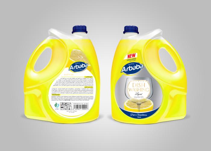 طراحی لیبل مایع ظرفشویی 4لیتری لیمویی آربابا