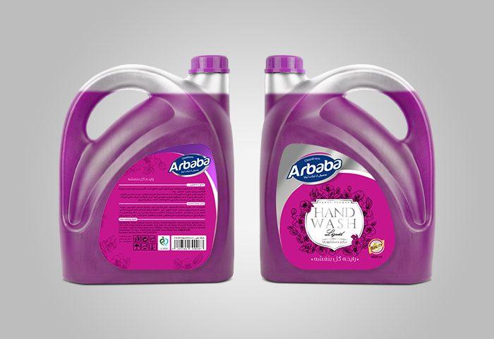 طراحی لیبل مایع دستشویی 4لیتری آربابا - رایحه گل بنفشه