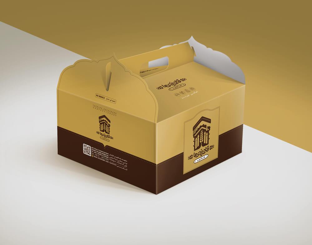 طراحی جعبه کیک قنادی یزدیها