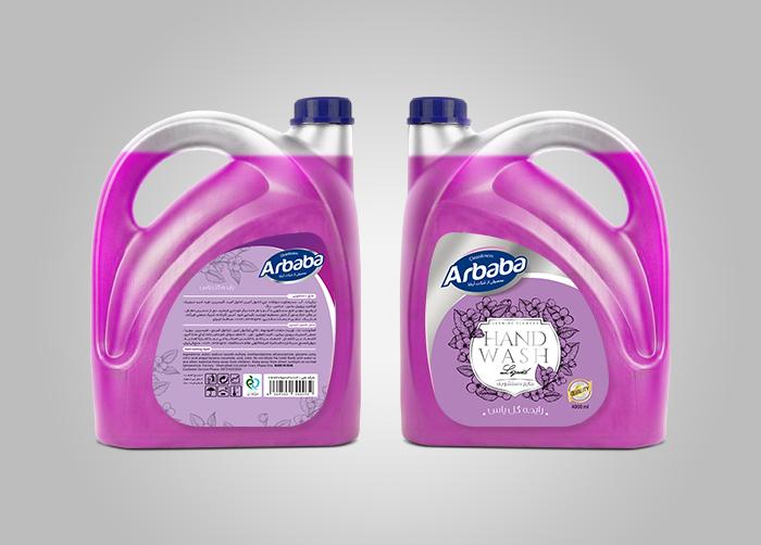 طراحی لیبل مایع دستشویی 4لیتری آربابا - رایحه گل یاس