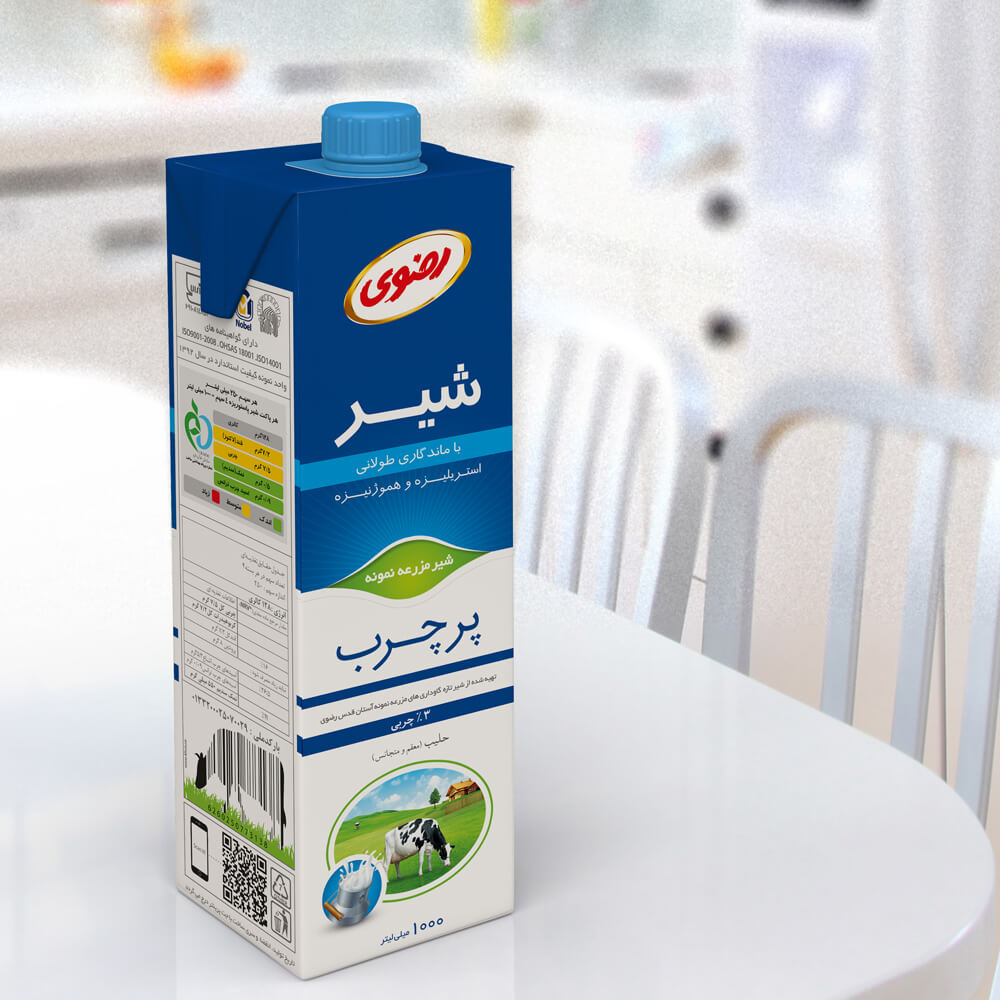 طراحی بسته بندی استریل شیر پر چرب رضوی