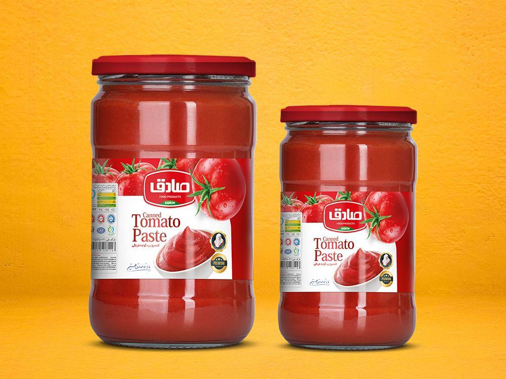 طراحی بسته بندی لیبل رب گوجه فرنگی شیشه ای صادق