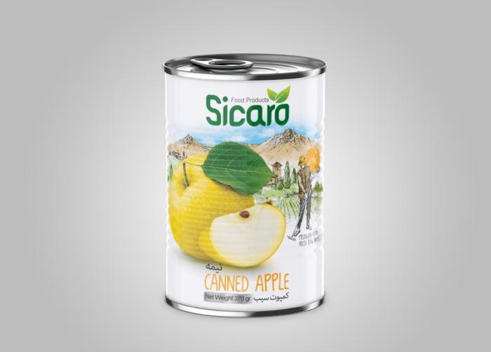 طراحی لیبل بسته بندی کمپوت سیب سیکارو