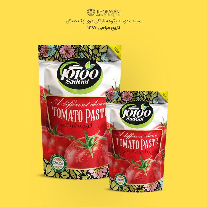طراحی بسته بندی رب گوجه فرنگی دوی پک صدگل