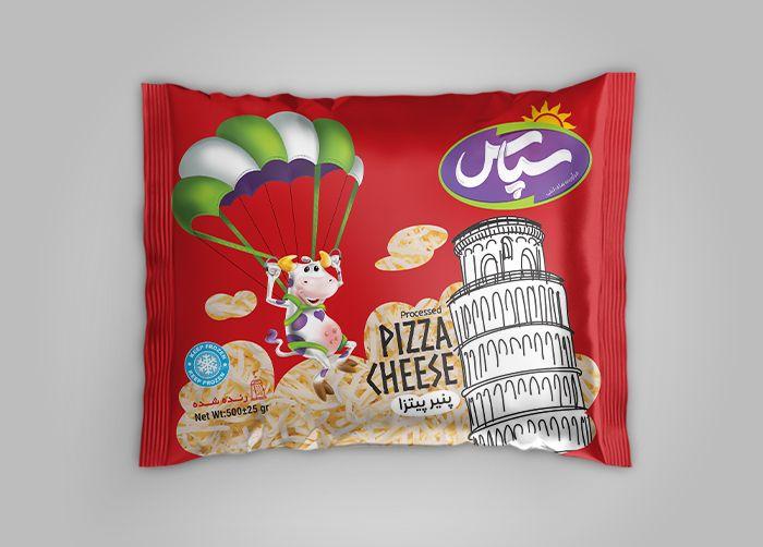 طراحی لفاف بسته بندی پنیر پیتزا سپاس