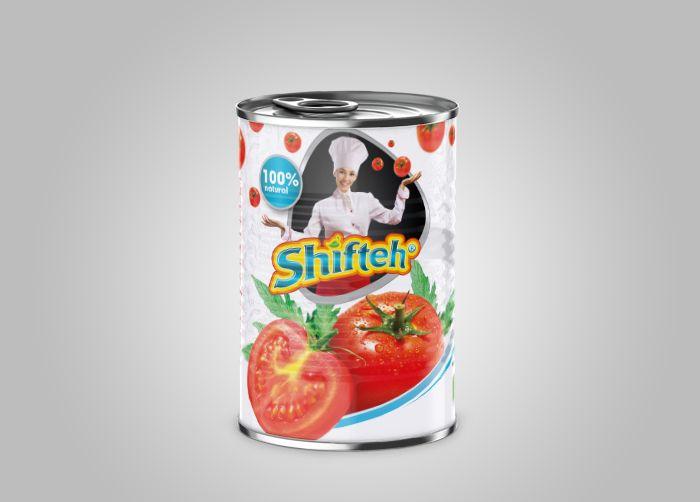 طراحی بسته بندی رب گوجه فرنگی شیفته