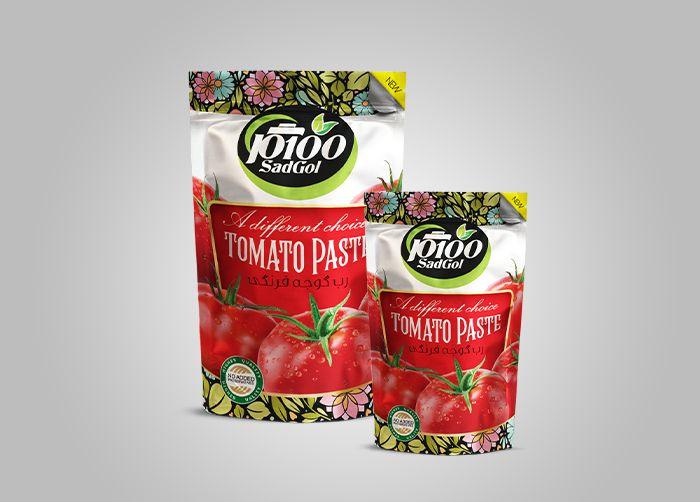 طراحی بسته بندی رب گوجه فرنگی 100گل