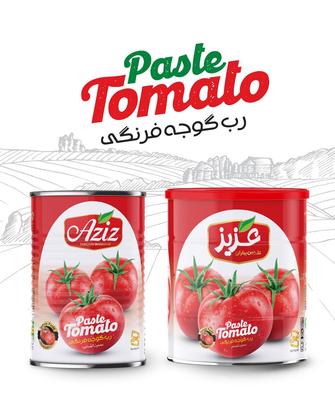 طراحی بسته بندی خانواده رب گوجه فرنگی عزیز